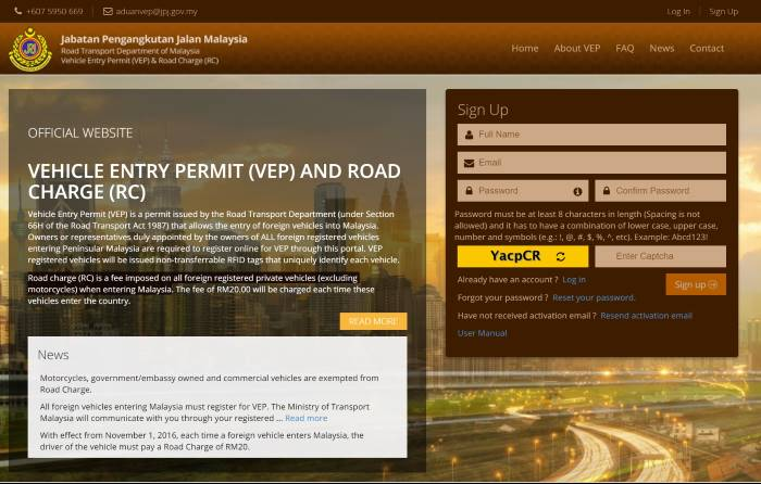 How to register, collect and use Malaysia Vehicle Entry